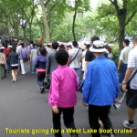 Visitors walking to the West Lake Pier