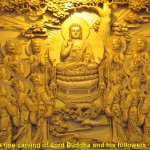 An intricate carving about Buddhism in China in Leifeng Pagoda