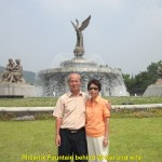 Phoenix Fountain is behind the writer and wife