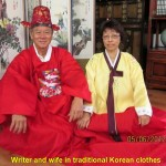 Writer and wife in Korean traditional clothes