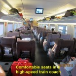 Comfortable seats in a high speed train-coach