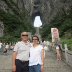 Writer and wife before climbing up Tianmen Cave steps
