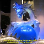 "A large sculptor of a dragon in ""City of Dreams"" lobby"