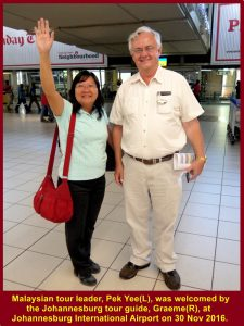 Johannesburg tour guide, Graeme, welcoming Malaysian tour leader at airport