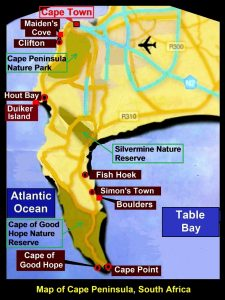 Map showing Maiden' Cove, Hout Bay, Fish Hoek, Boulders, Cape Point and Cape of Good Hope