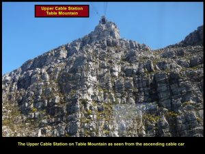Table Mountain Upper Cable Station that is 1 069 m above sea-level is seen from the ascending cable-car