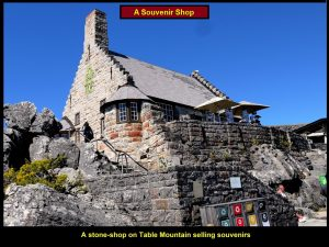 A souvenir shop on top of Table Mountain is built from sandstone rocks.