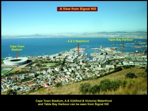 Cape Town Stadium, A & V(Alfred & Victoria) Waterfront and Table Bay Harbour can be seen from Signal Hill