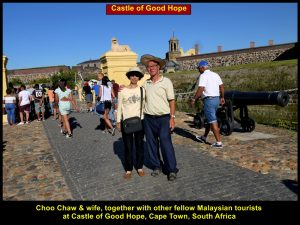 Choo Chaw and wife outside Castle of Good Hope, Cape town