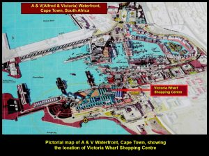 A pictorial map of A & V Waterfront, Cape Town, showing the location of Victoria Shopping Centre