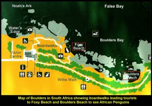 Map showing the location of Foxy Beach and Boulders Beach at Boulders