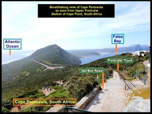 A spectacular panoramic view of the Cape Peninsula landscapes from the old lighthouse