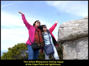 Two fellow-Malaysians feeling happy to be at the Cape Point old lighthouse