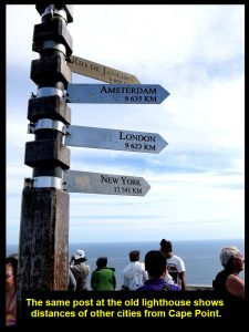 The same post showing the distances of other foreign cities from the lighthouse