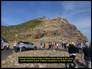 Tourists making a beeline to the most south-western point of the continent of Africa, Cape of Good Hope