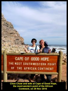 Choo Chaw and wife at the most south-western point of the continent of Africa