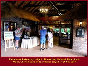 Malaysians checked in at Bakubung Lodge on 30 Nov 2016