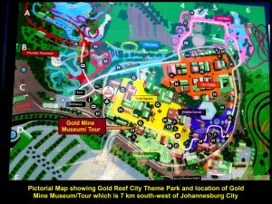 Pictorial map showing the locations of different thrills and Gold Mine Museum Tour