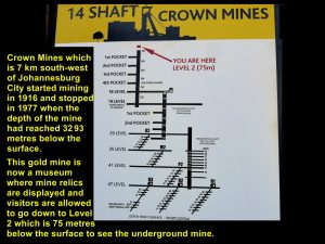 Crown Mines owned Shaft 14 and the diagram shows that gold had been mined to the level, 3293 metres below the surface.