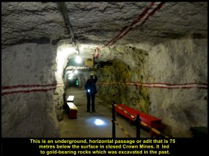 Adit or tunnel leading to a place or stope where gold-ore was excavated