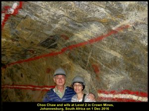 Choo Chaw and wife visiting underground gold mine