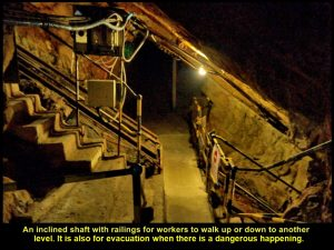 Inclined shaft for going to another level or evacuation when there is a dangerous happening