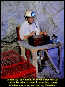 A clerk in the mine taking attendance of mine-workers