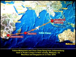 Air-route from Johannesburg to Kuala Lumpur taken by a Mauritius plane that carried fellow-Malaysians and Choo Chaw