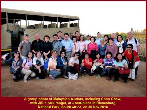 Group photo of Malaysians with at a rest-place in Pilanesberg National Park, South Africa