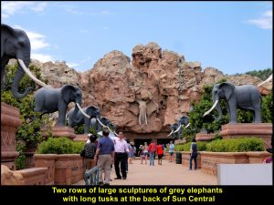 Two rows of elephants at the back of Sun Central