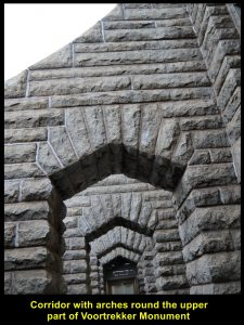 Arches of the top of Voortrekker Monument are built with a geometrical design.