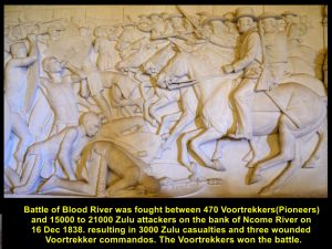 Battle of Blood River on 16 Dec 1838 between 15000-21000 Zulu attackers and 470 Voortrekkers