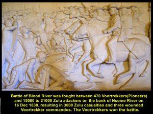 Battle of Blood River on 16 Dec 1838 between 15000-21000 Zulu attackers and 470 Voortrekkers