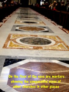 On the floor of the nave of the church are makers showing other churches of comparative sizes