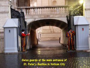 Swiss guards protect the pope and St. Peter's Basilica