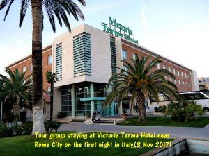 Tour group staying at Victoria Terma Hotel near Rome on the first night in Italy