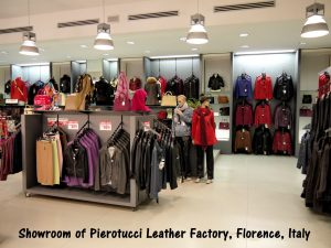 Factory showroom of leather-products