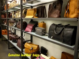 Genuine leather handbags in showroom
