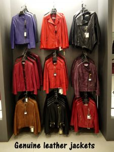 Genuine leather jackets in showroom