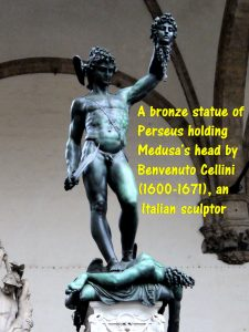 A bronze statue of Perseus holding Medusa's head