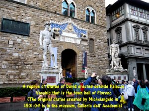 Statues of David, Hercules and Cacus at the entrance of Palazzo Vecchio