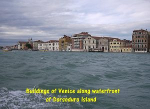 Old Venetian buildings along the waterfront of Dorsudoro Island of Venice