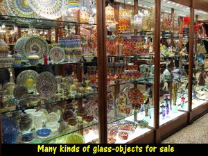 Glass-objects of different forms, sizes and colours for sale