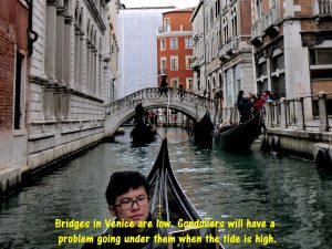Low canal bridges will be a problem for gondoliers to row their boats underneath.