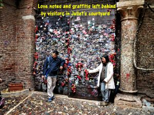 Love notes and graffitis on wall of courtyard