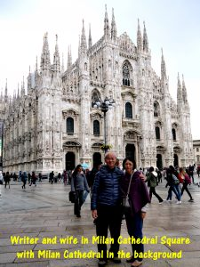 Writer and wife in Milan Cathedral Square