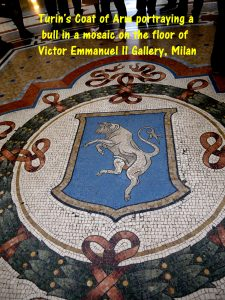 Mosaic on the floor of Victor Emmanuel II Gallery portraying the Turin's coat of arm