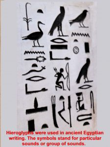 Hieroglyphs were used in ancient Egyptian writing.