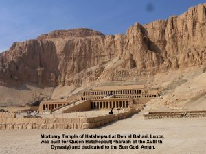 Mortuary Temple of Hatshepsut was built for Queen Hatshepsut and dedicated to the Sun God, Amun.