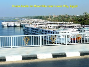 Cruise boats on River Nile waiting for tourists